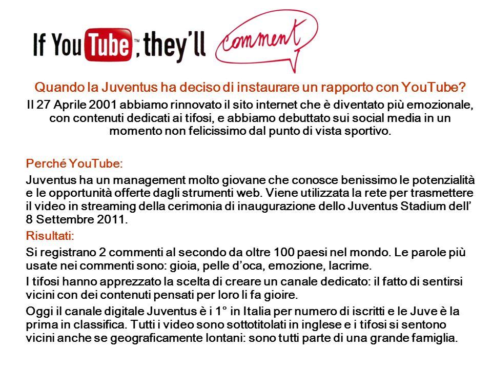 Quando la Juventus ha deciso di instaurare un rapporto con YouTube