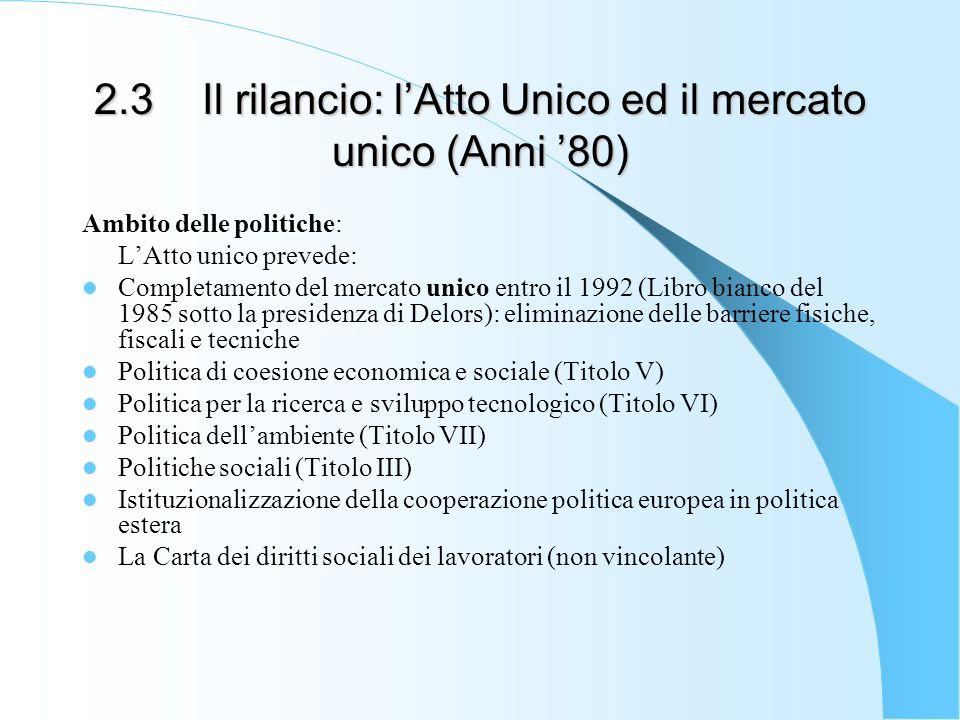 2.3 Il rilancio: l'Atto Unico ed il mercato unico (Anni '80)