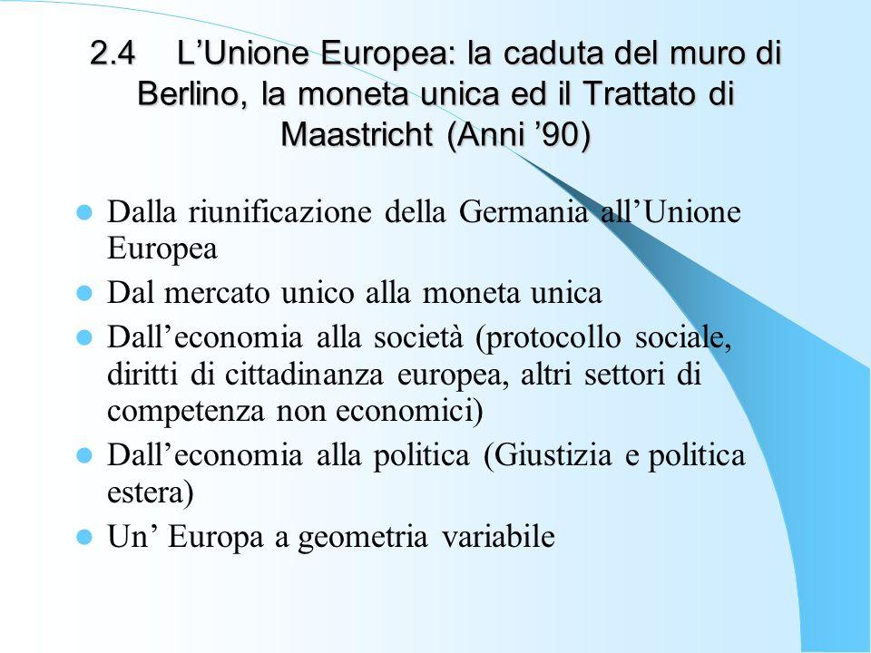 2.4 L'Unione Europea: la caduta del muro di Berlino, la moneta unica ed il Trattato di Maastricht (Anni '90)