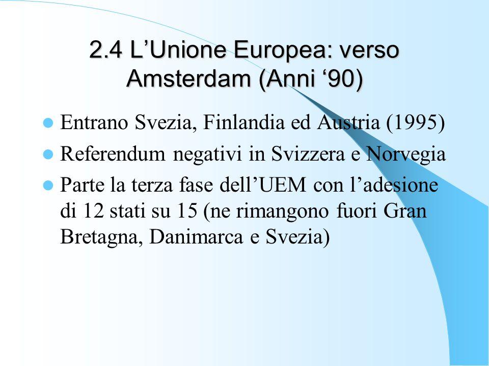 2.4 L'Unione Europea: verso Amsterdam (Anni '90)