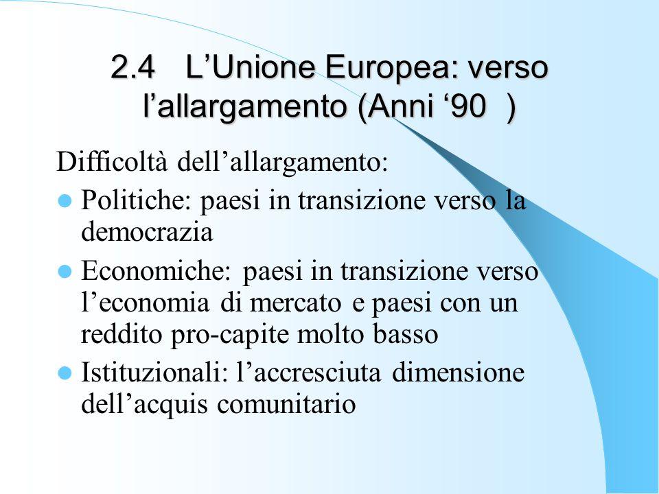 2.4 L'Unione Europea: verso l'allargamento (Anni '90 )