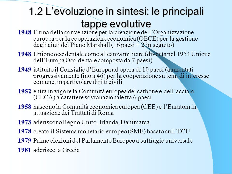 1.2 L'evoluzione in sintesi: le principali tappe evolutive