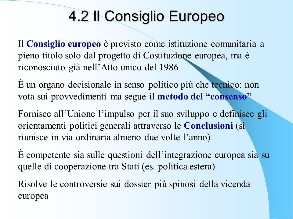4.2 Il Consiglio Europeo