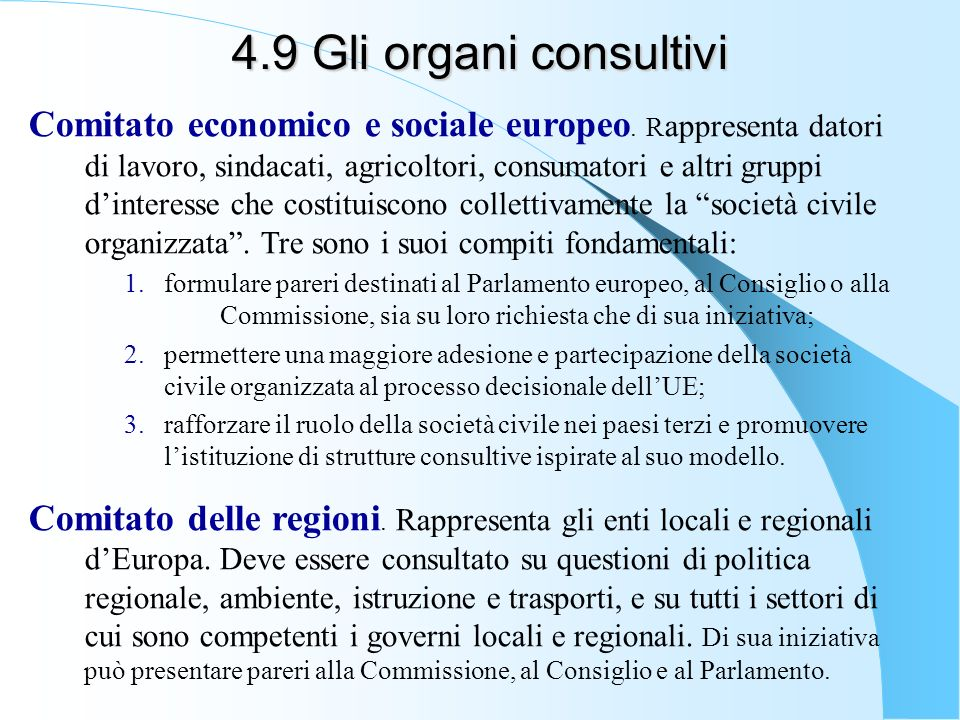 4.9 Gli organi consultivi
