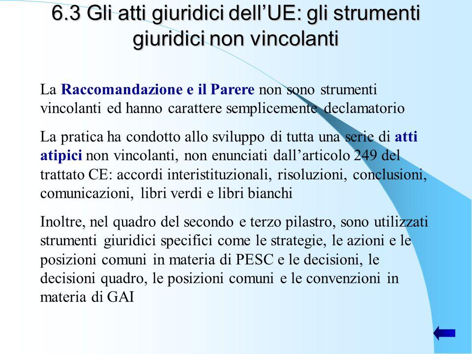 6.3 Gli atti giuridici dell'UE: gli strumenti giuridici non vincolanti