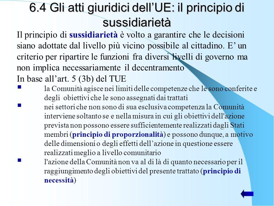 6.4 Gli atti giuridici dell'UE: il principio di sussidiarietà