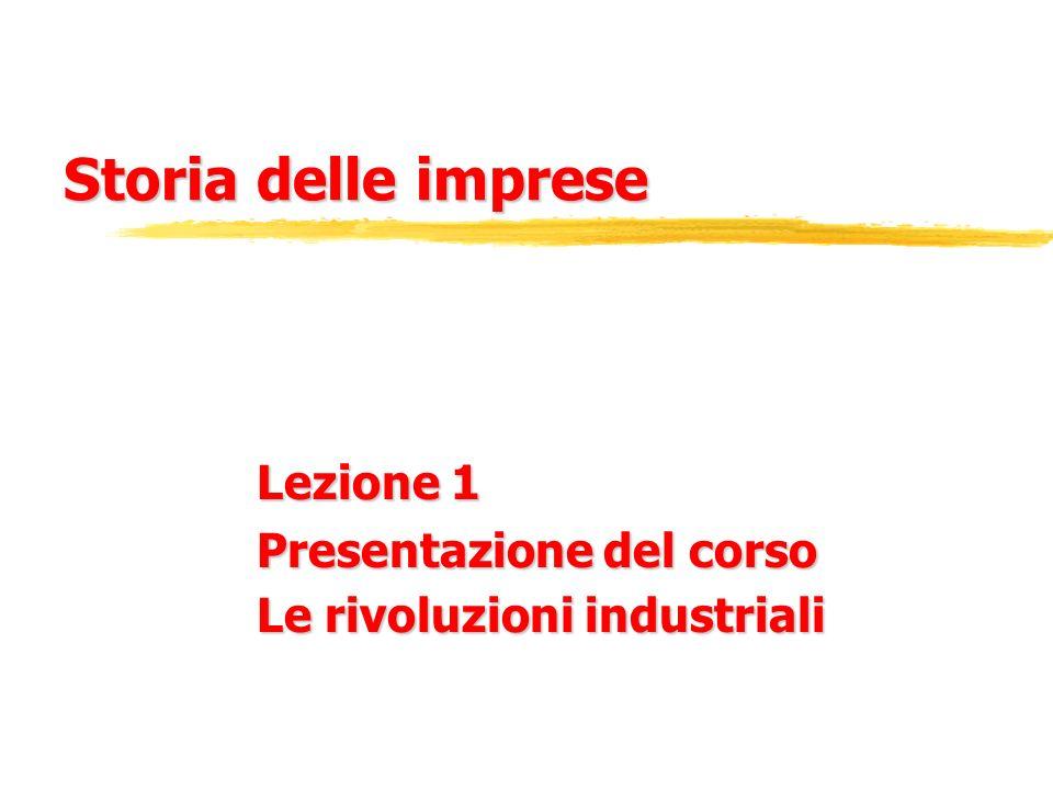 Lezione 1 Presentazione del corso Le rivoluzioni industriali