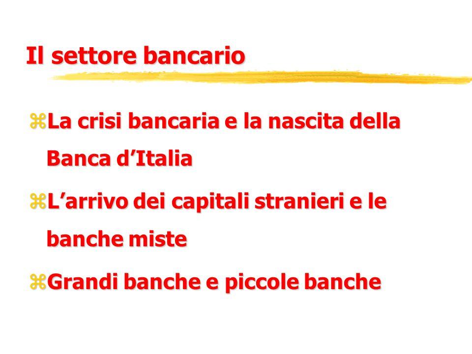 Il settore bancarioLa crisi bancaria e la nascita della Banca d'Italia. L'arrivo dei capitali stranieri e le banche miste.