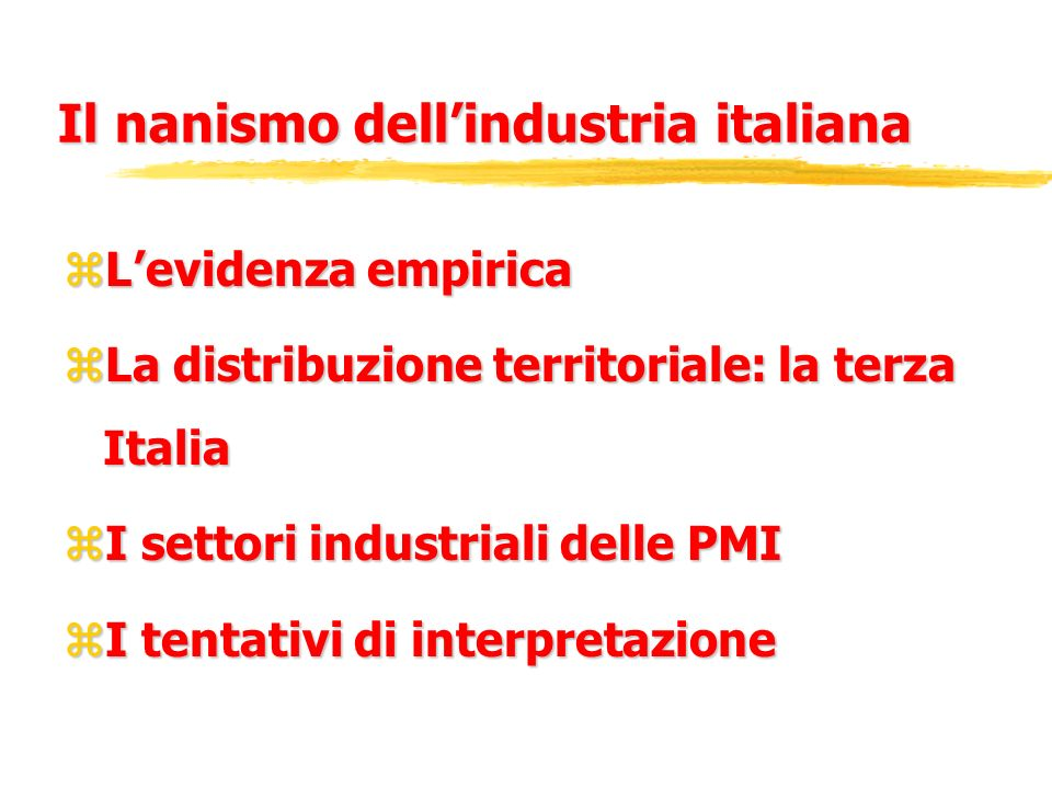 Il nanismo dell'industria italiana