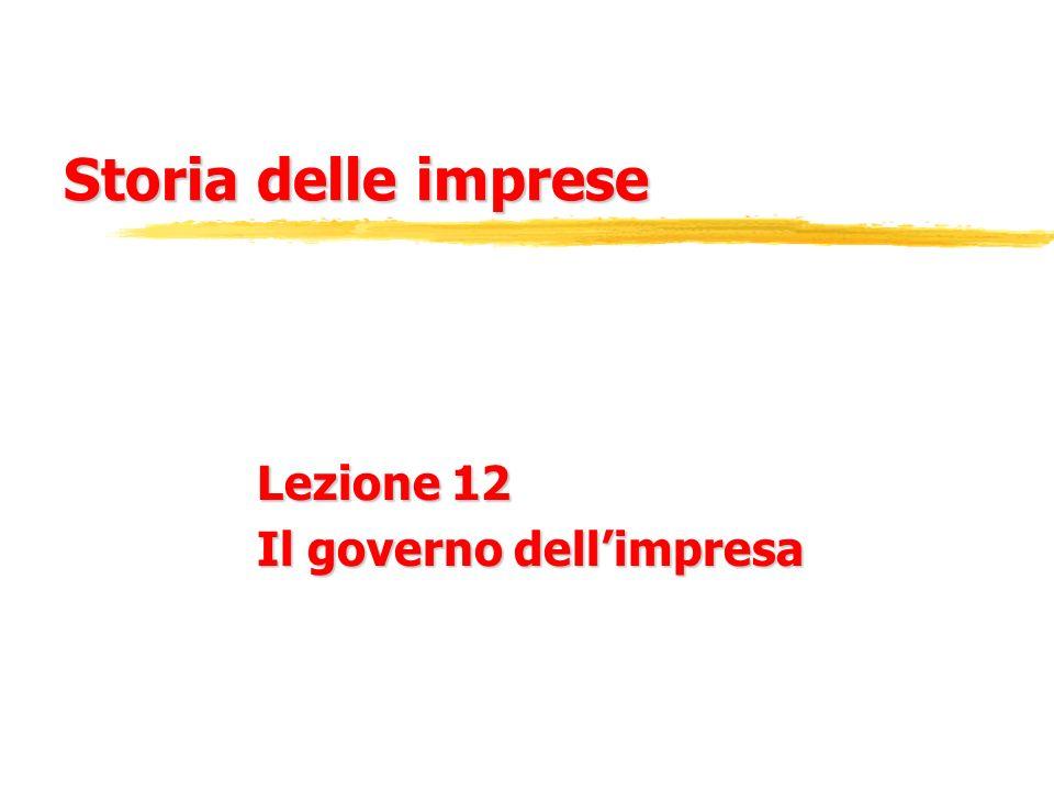 Lezione 12 Il governo dell'impresa