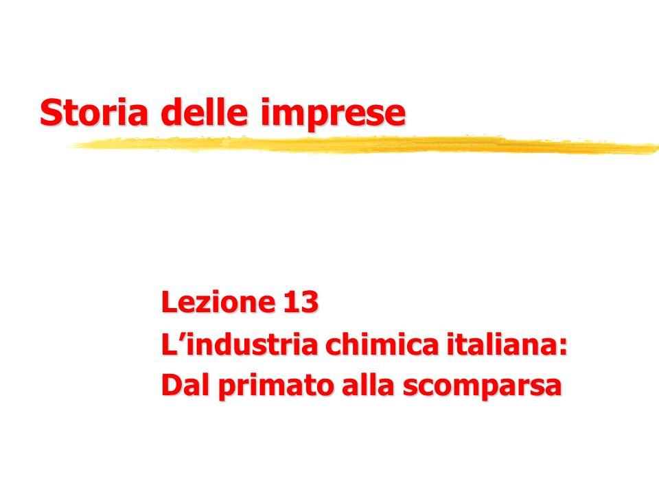 Lezione 13 L'industria chimica italiana: Dal primato alla scomparsa