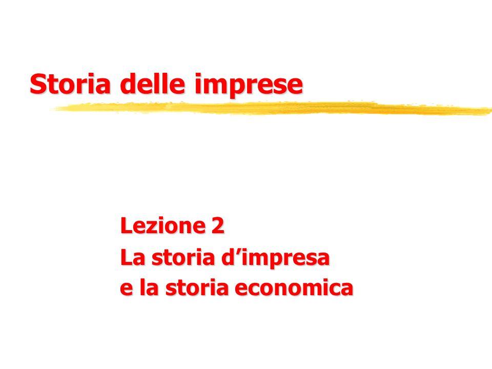 Lezione 2 La storia d'impresa e la storia economica