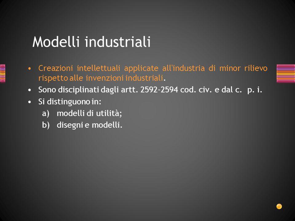 Modelli industriali Creazioni intellettuali applicate all industria di minor rilievo rispetto alle invenzioni industriali.