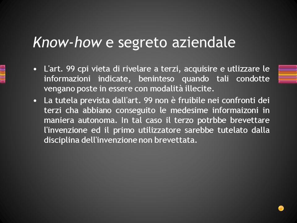 Know-how e segreto aziendale