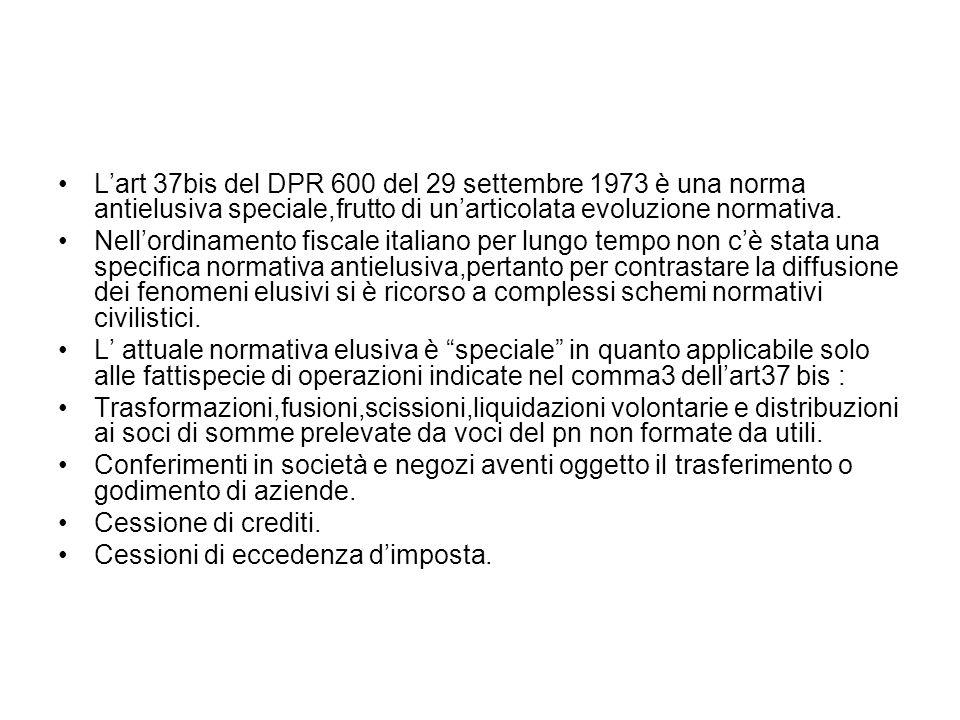 L'art 37bis del DPR 600 del 29 settembre 1973 è una norma antielusiva speciale,frutto di un'articolata evoluzione normativa.