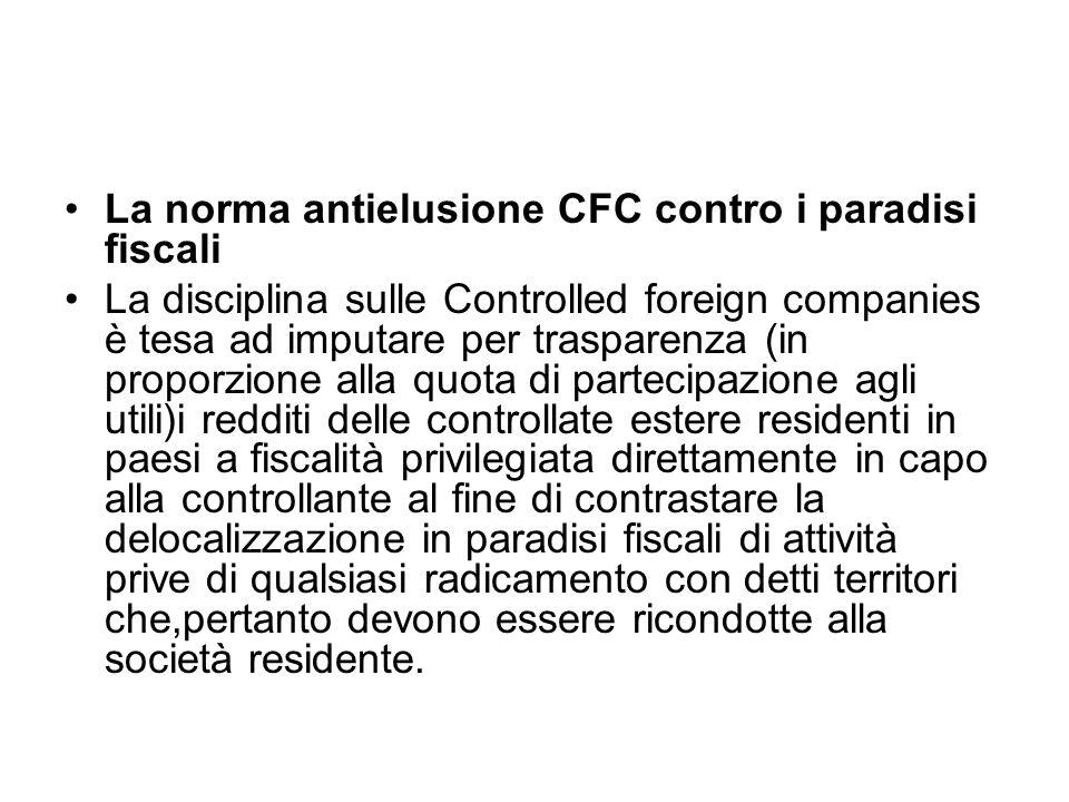 La norma antielusione CFC contro i paradisi fiscali