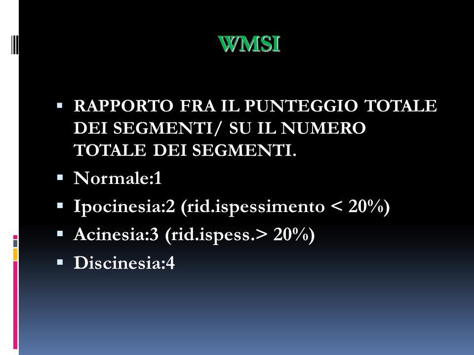 WMSI Normale:1 Ipocinesia:2 (rid.ispessimento < 20%)