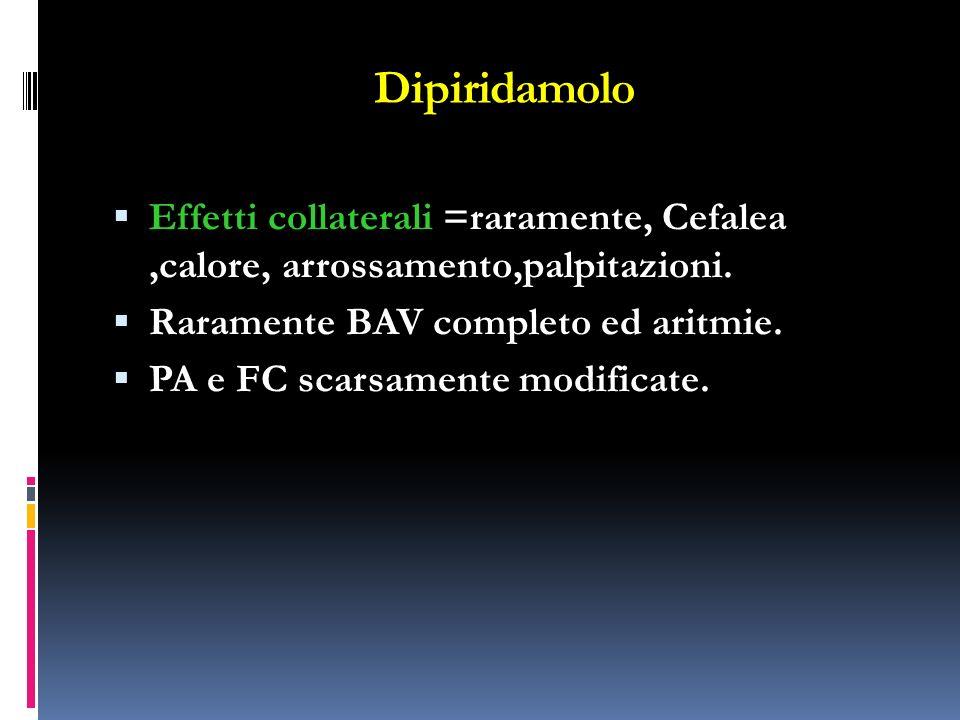 Dipiridamolo Effetti collaterali =raramente, Cefalea ,calore, arrossamento,palpitazioni. Raramente BAV completo ed aritmie.