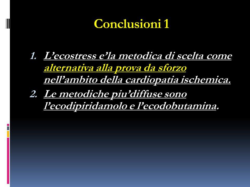 Conclusioni 1 L'ecostress e'la metodica di scelta come alternativa alla prova da sforzo nell'ambito della cardiopatia ischemica.