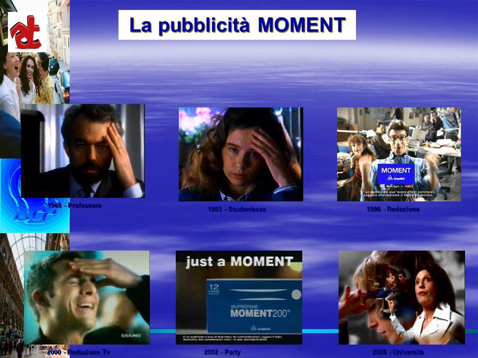 La pubblicità MOMENT 1988 - Professore 1993 - Studentessa