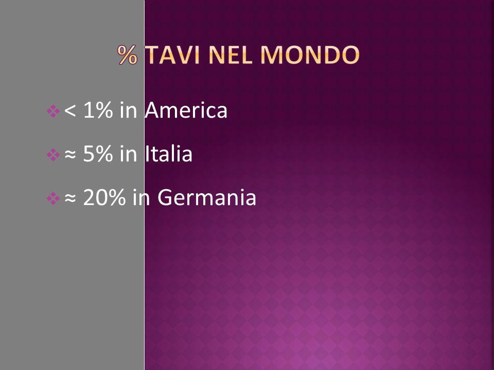 < 1% in America ≈ 5% in Italia ≈ 20% in Germania