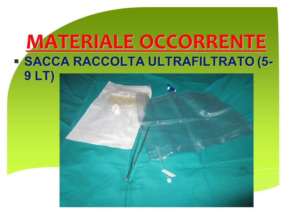 MATERIALE OCCORRENTE SACCA RACCOLTA ULTRAFILTRATO (5- 9 LT)