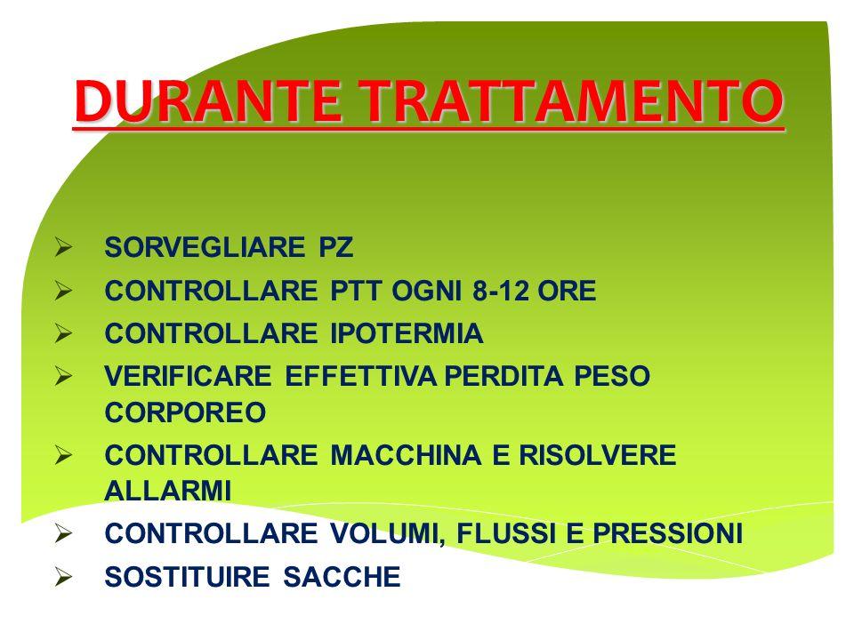 DURANTE TRATTAMENTO SORVEGLIARE PZ CONTROLLARE PTT OGNI 8-12 ORE