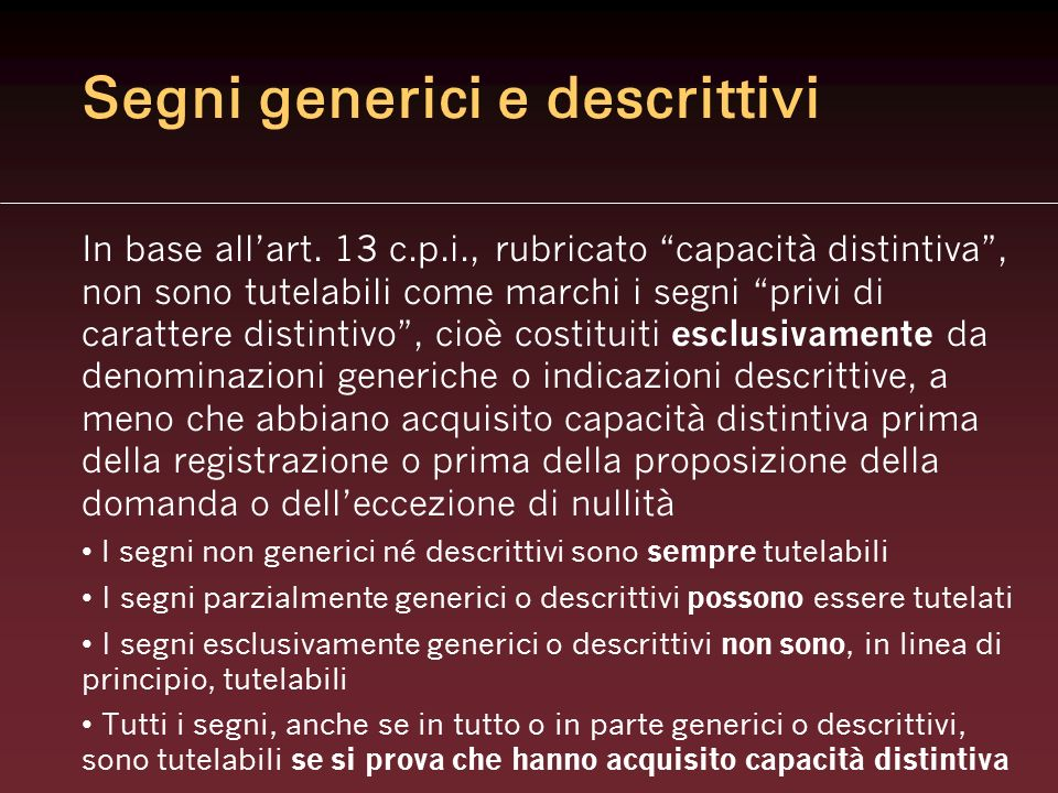 Segni generici e descrittivi