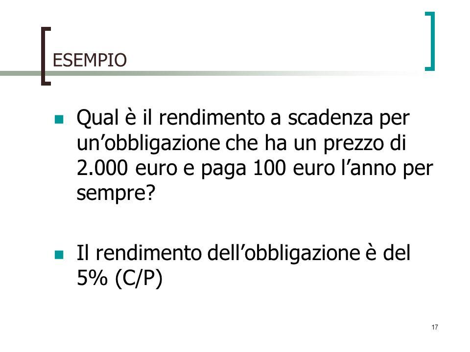 Il rendimento dell'obbligazione è del 5% (C/P)
