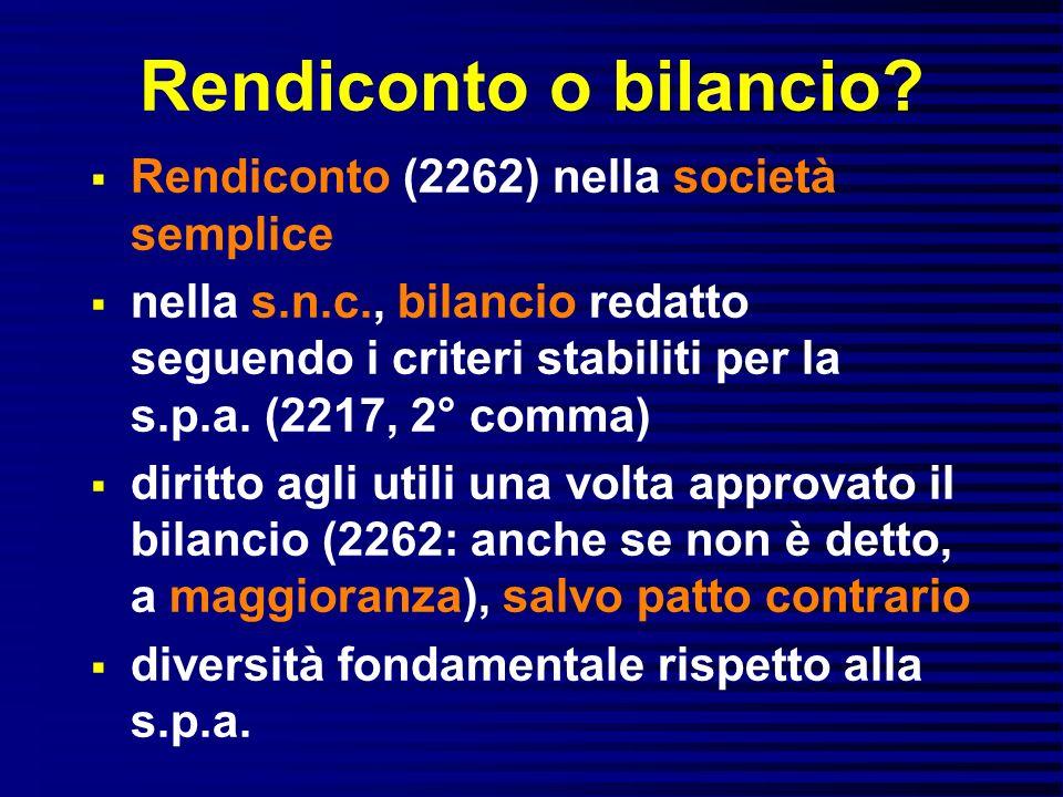Rendiconto o bilancio Rendiconto (2262) nella società semplice