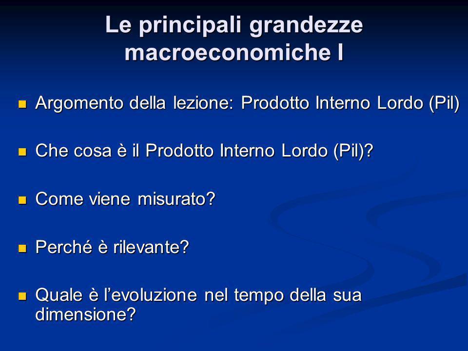 Le principali grandezze macroeconomiche I