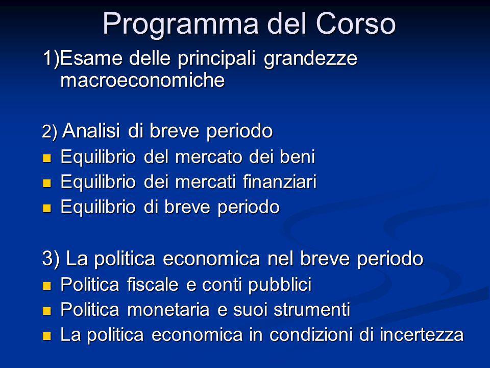Programma del Corso 1)Esame delle principali grandezze macroeconomiche