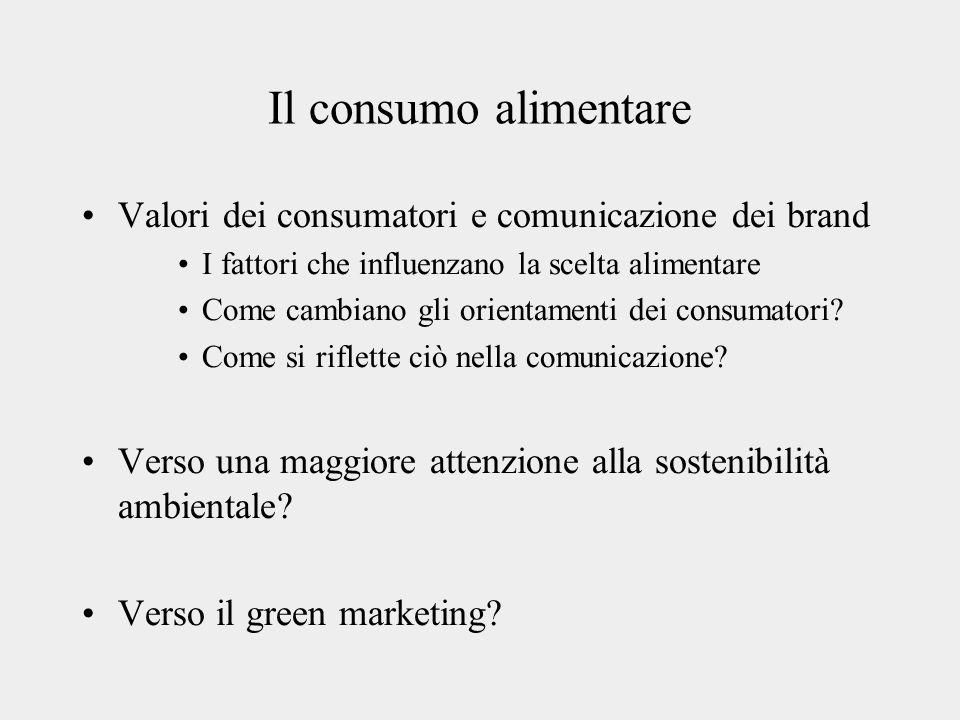 Il consumo alimentare Valori dei consumatori e comunicazione dei brand
