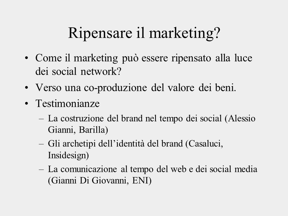 Ripensare il marketing