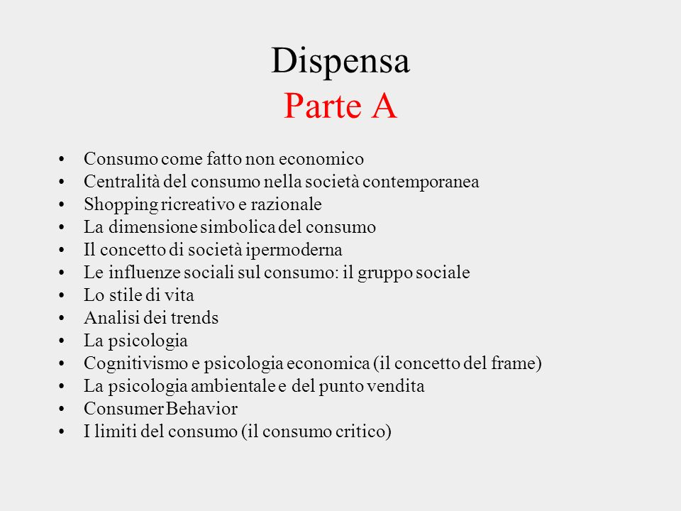 Dispensa Parte A Consumo come fatto non economico