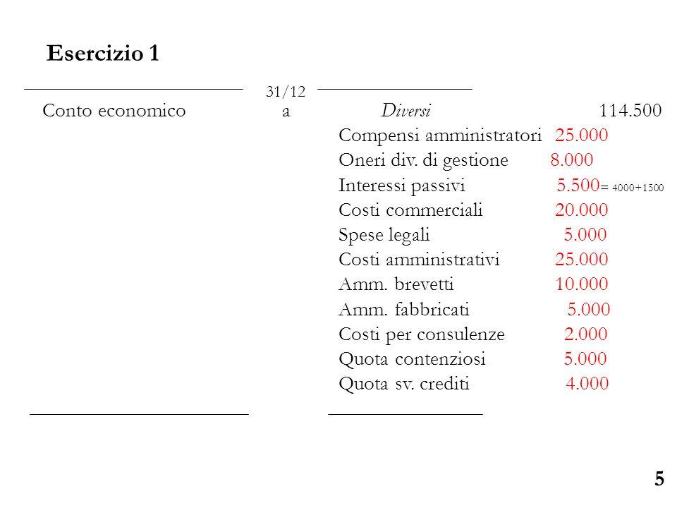 Esercizio 1 5 Conto economico a Diversi 114.500