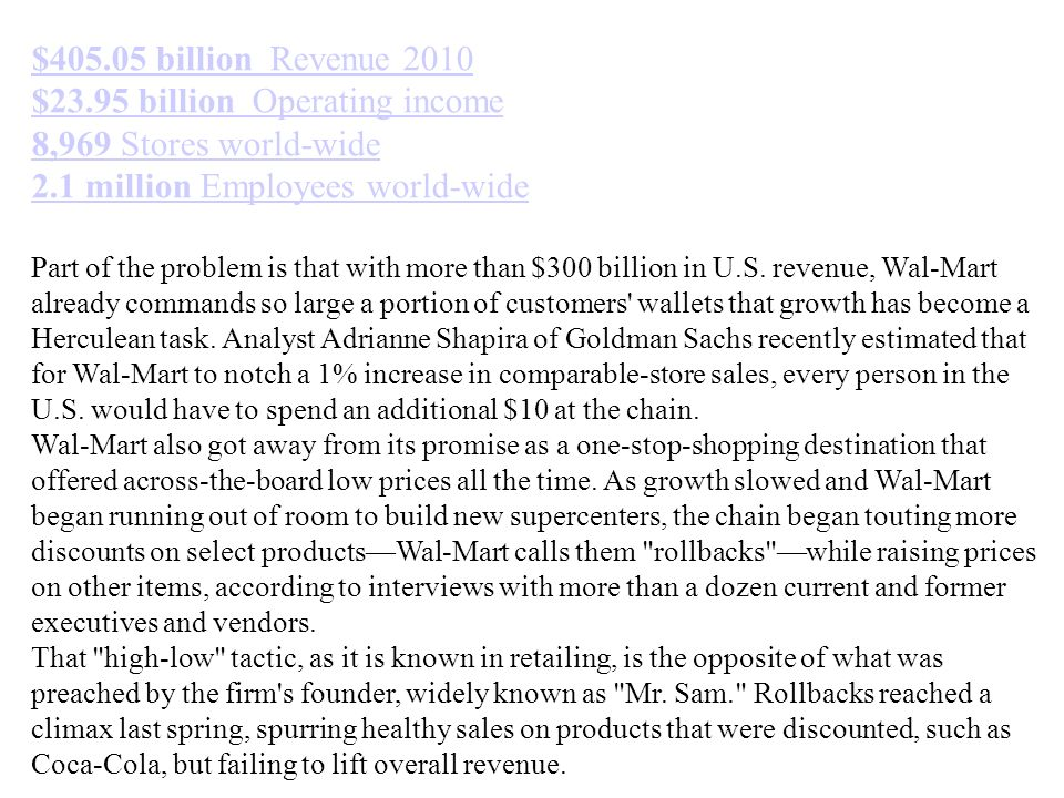 $23.95 billion Operating income 8,969 Stores world-wide