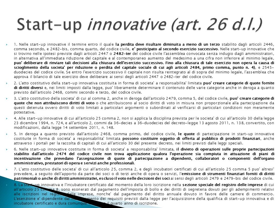 Start-up innovative (art. 26 d.l.)