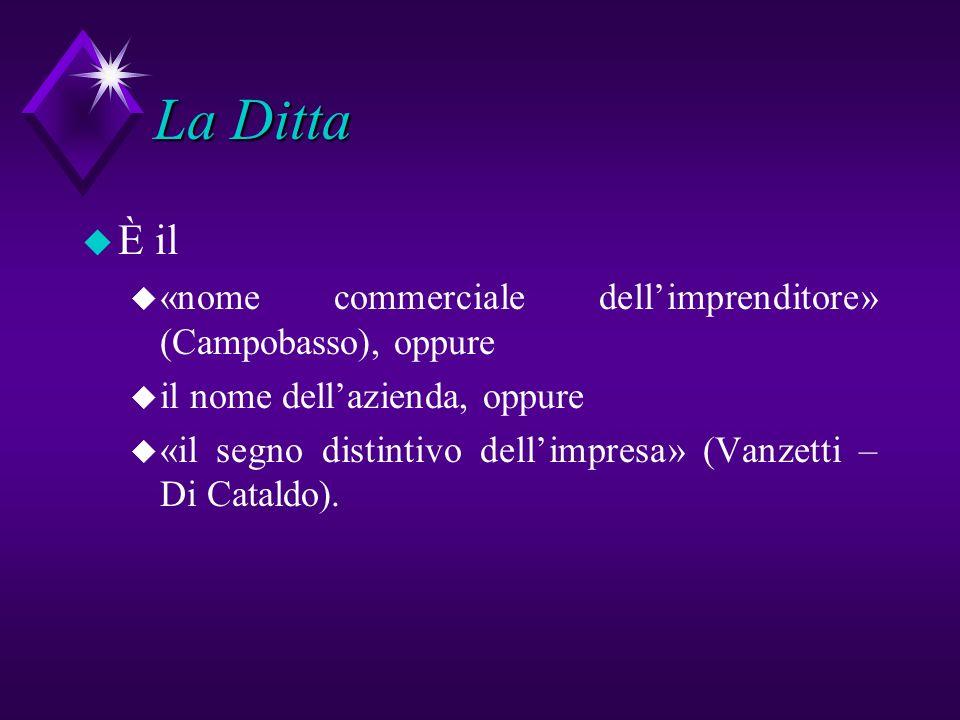 La Ditta È il. «nome commerciale dell'imprenditore» (Campobasso), oppure. il nome dell'azienda, oppure.