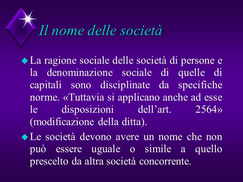 Il nome delle società
