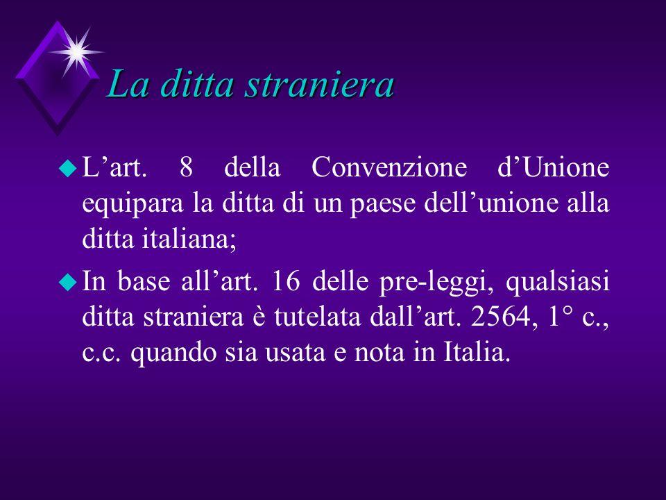 La ditta straniera L'art. 8 della Convenzione d'Unione equipara la ditta di un paese dell'unione alla ditta italiana;