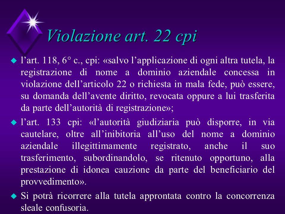 Violazione art. 22 cpi