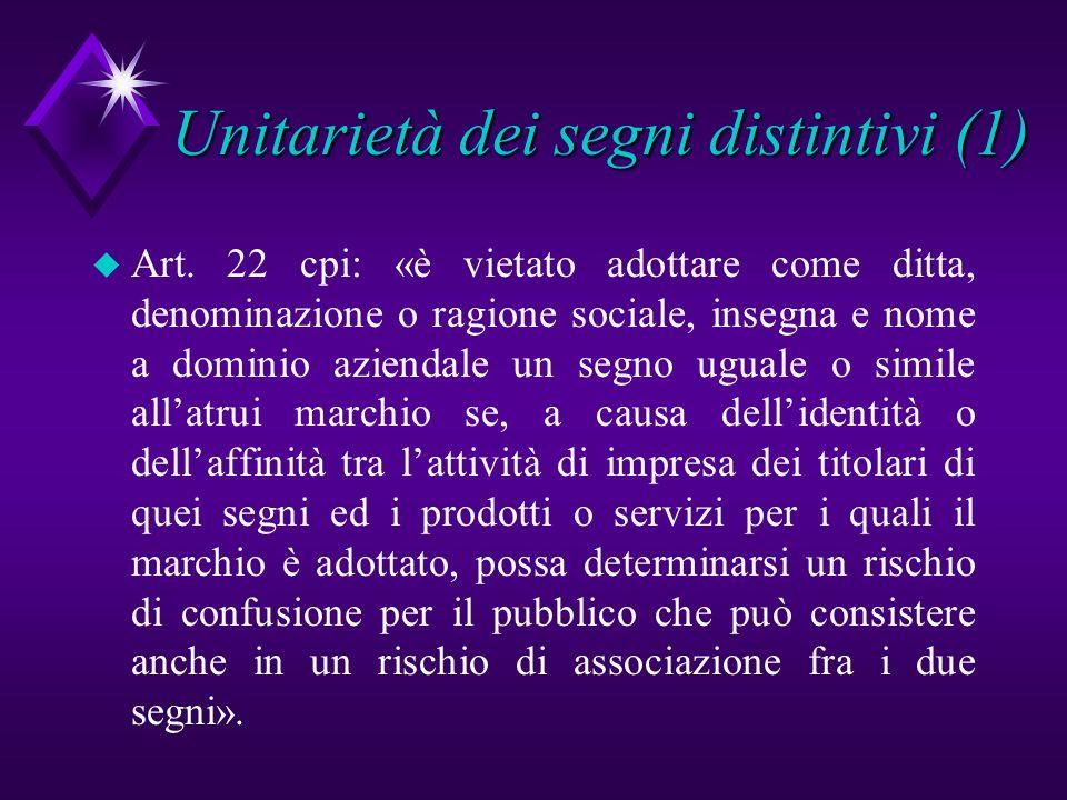 Unitarietà dei segni distintivi (1)