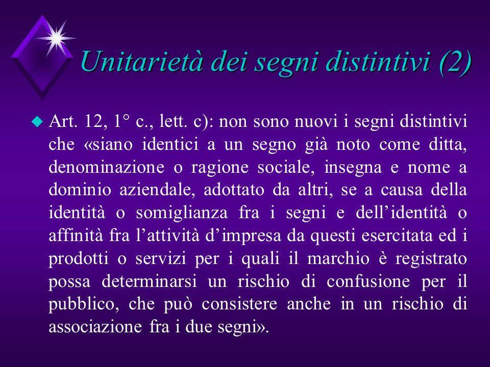 Unitarietà dei segni distintivi (2)