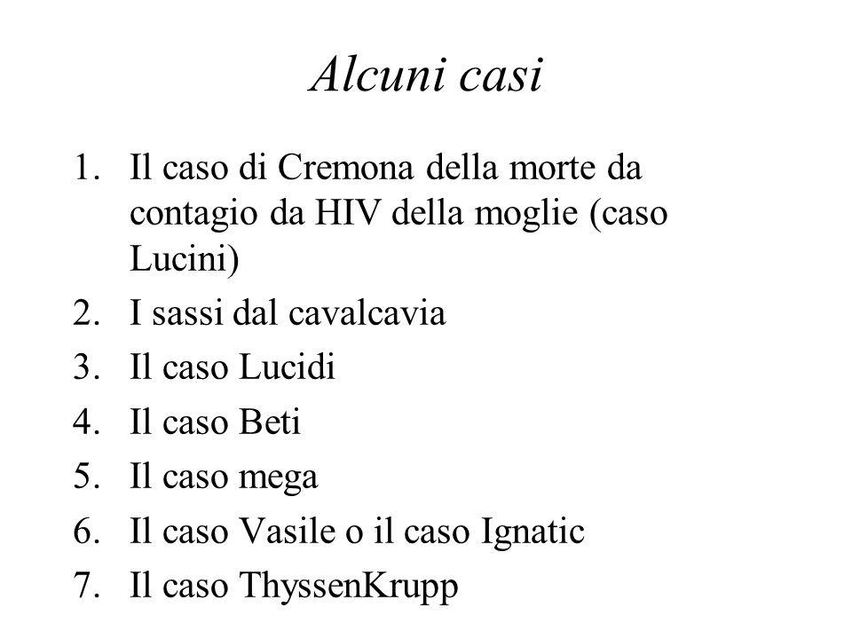 Alcuni casi Il caso di Cremona della morte da contagio da HIV della moglie (caso Lucini) I sassi dal cavalcavia.