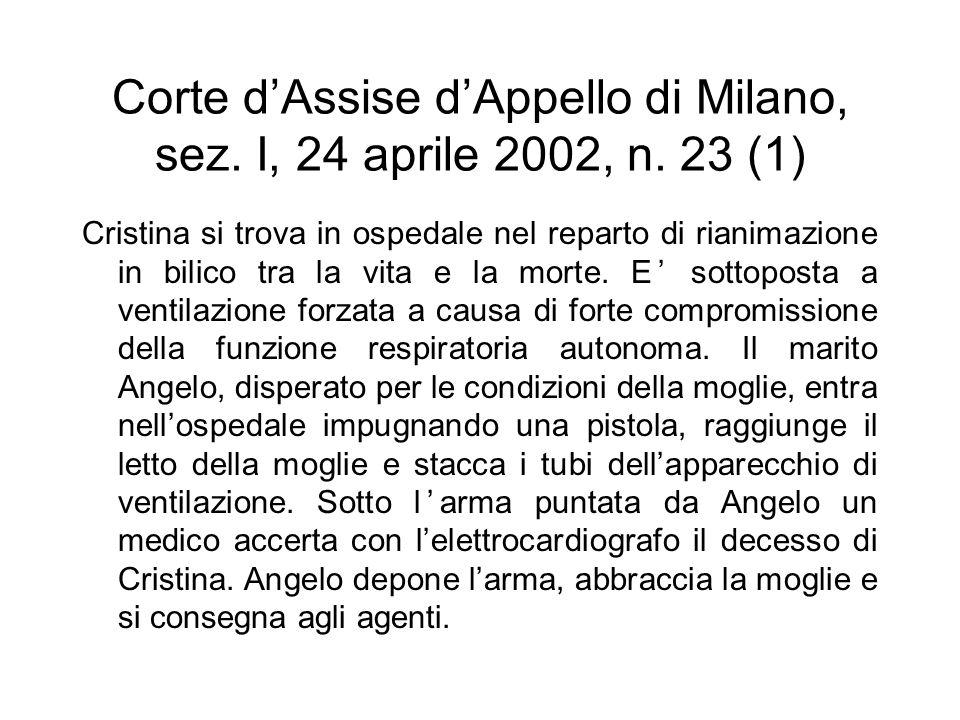 Corte d'Assise d'Appello di Milano, sez. I, 24 aprile 2002, n. 23 (1)