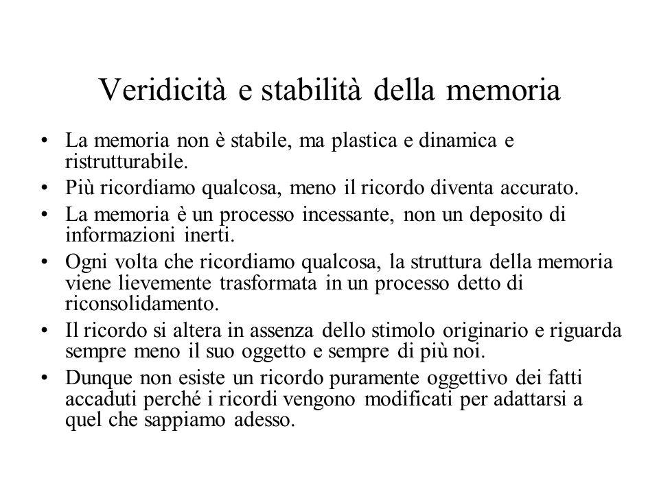 Veridicità e stabilità della memoria