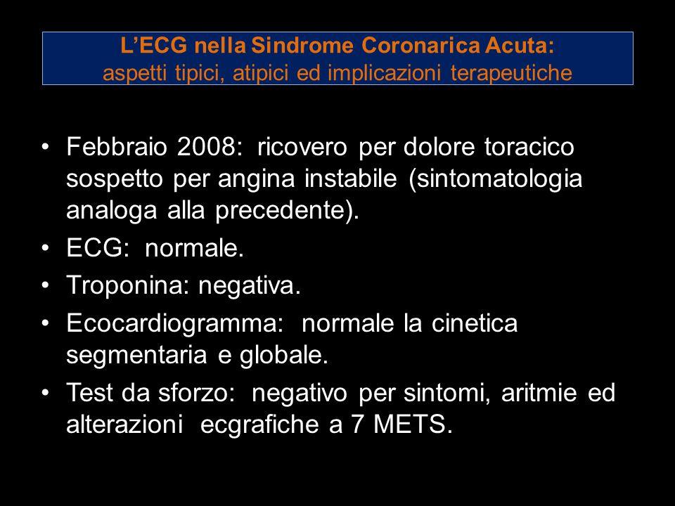 Ecocardiogramma: normale la cinetica segmentaria e globale.