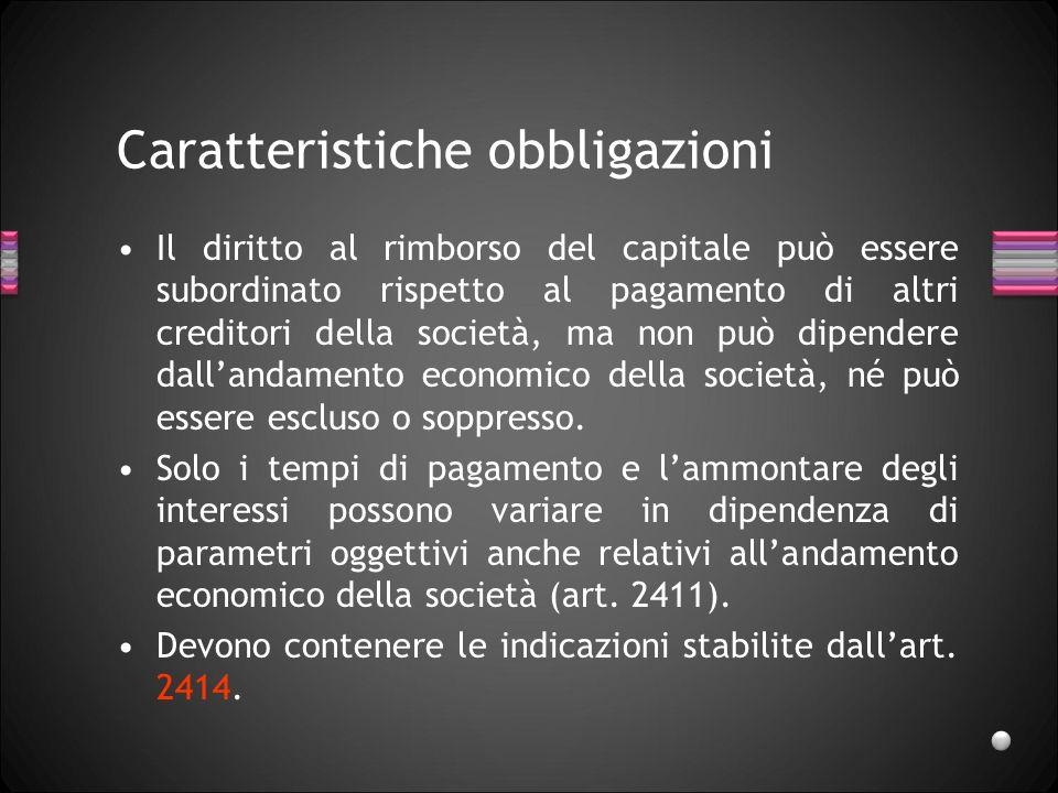 Caratteristiche obbligazioni