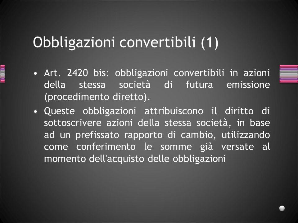 Obbligazioni convertibili (1)